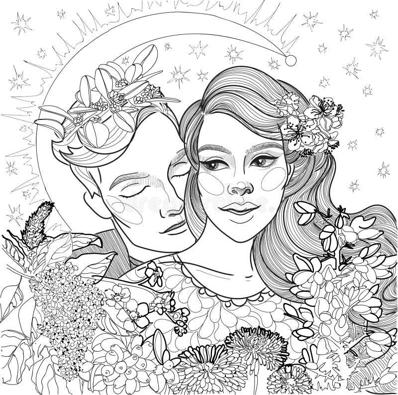 Beautiful loving couple stock illustration