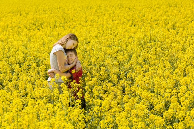 Beautiful loving teenage girl and young brother together in sweet hug, surrounded by a meadow filled with yellow flowers. stock photos