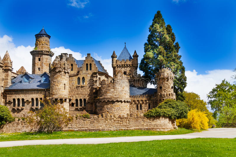 Beautiful Lowenburg or Lion castle in Bergpark stock images