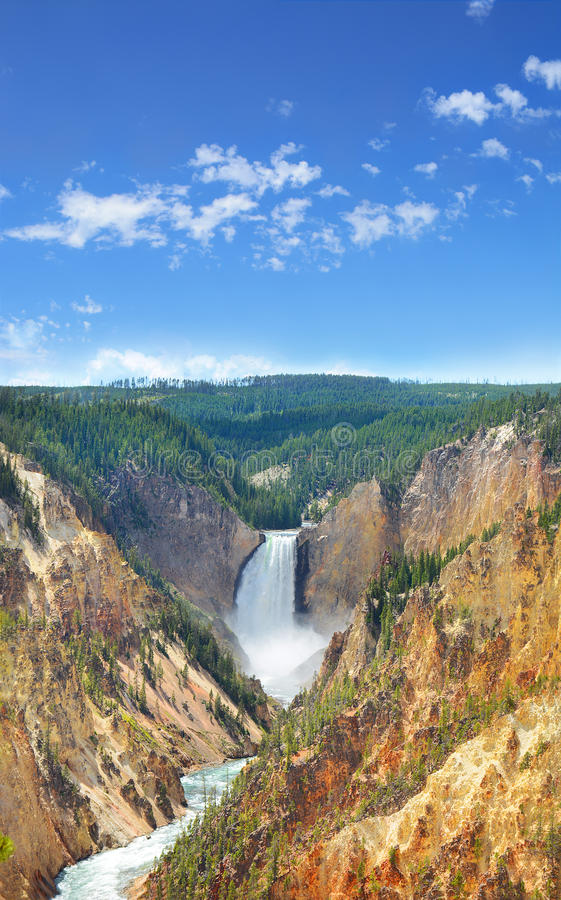 Beautiful Lower Falls in Yellowstone National Park. Beautiful Lower Falls. The Grand Canyon of the Yellowstone National Park, Wyoming, USA. Yellowstone River royalty free stock image