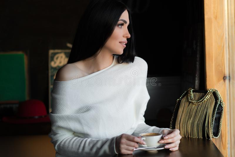 Beautiful luxurious brunette woman in cafe royalty free stock photography