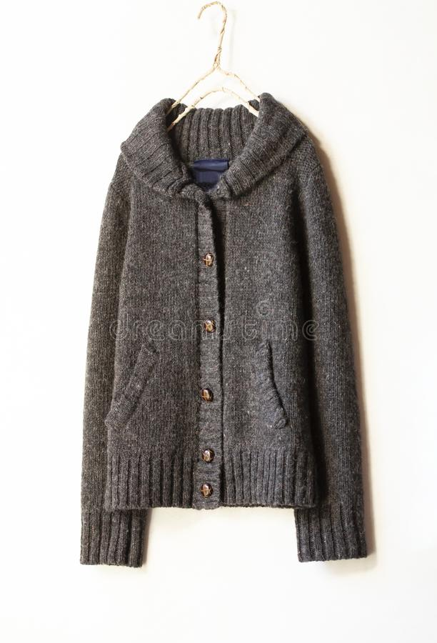 Beautiful, luxurious, knitted cardigan in brown, autumn, winter, warm stock photos