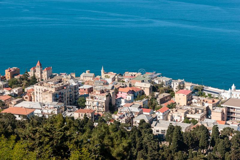 Beautiful and luxurious seaside in Algiers. Some residents in Algiers can enjoy to live in beautiful villas within districts nearby along the mediterranean sea stock photos