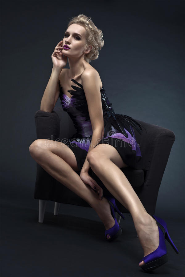 Free Beautiful Luxurious Woman Sitting On Chair Stock Photo - 21024980