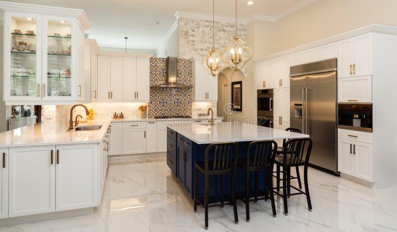 Luxury White Kitchen Home Design stock images