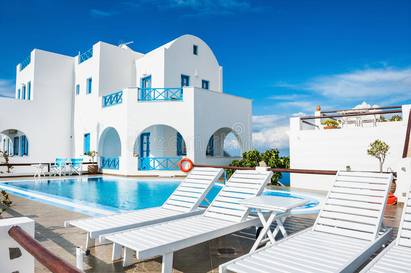 Beautiful luxury hotel with swimming pool. royalty free stock images