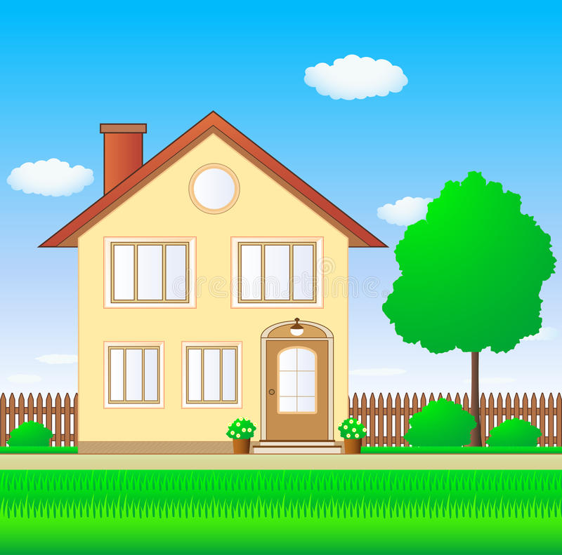 Beautiful luxury house. With lawn and garden stock illustration