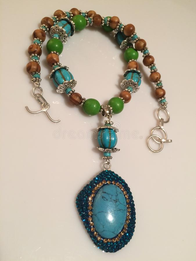 Beautiful Luxury Jewellery Artisan Turquoise Necklace With Sparkly Pendant. stock image