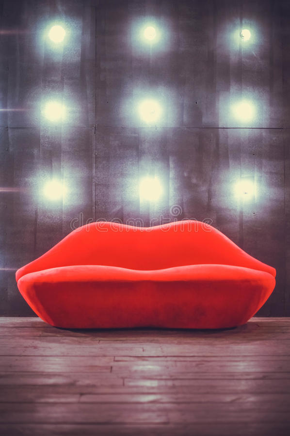 Download Beautiful Luxury Red Lips Sofa On Grey Background With Lights  Stock Photo   Image Of