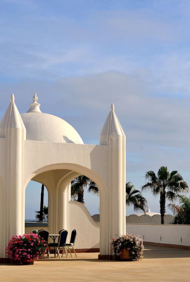 Beautiful luxury restaurant in morocco stock image