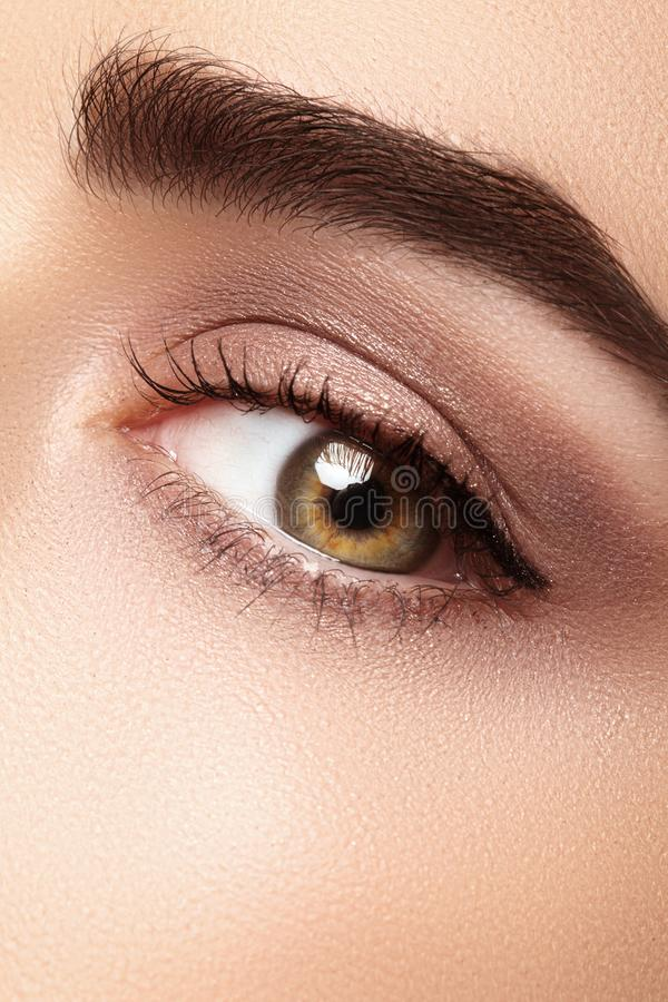 Beautiful macro eye with clean makeup. Perfect shape eyebrows, beige eyeshadows. Cosmetics and make-up. Care about eyes royalty free stock images