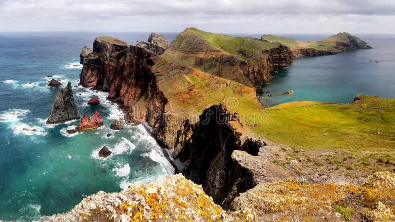Beautiful Madeira Island. And blue Atlantic Ocean, landscape panorama. Portugal. Coastline, cliffs stock photos