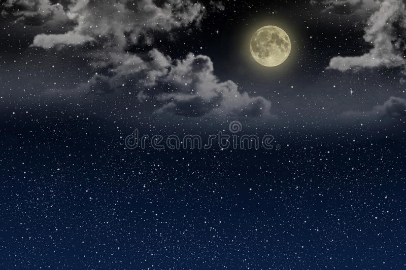 Beautiful magic blue night sky with clouds and fullmoon and stars stock image