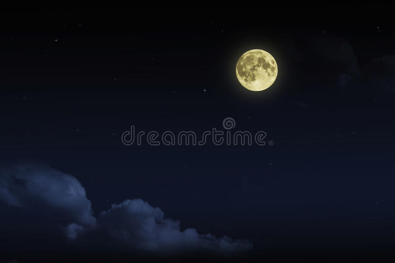 Beautiful magic blue night sky with clouds and fullmoon stars royalty free stock images