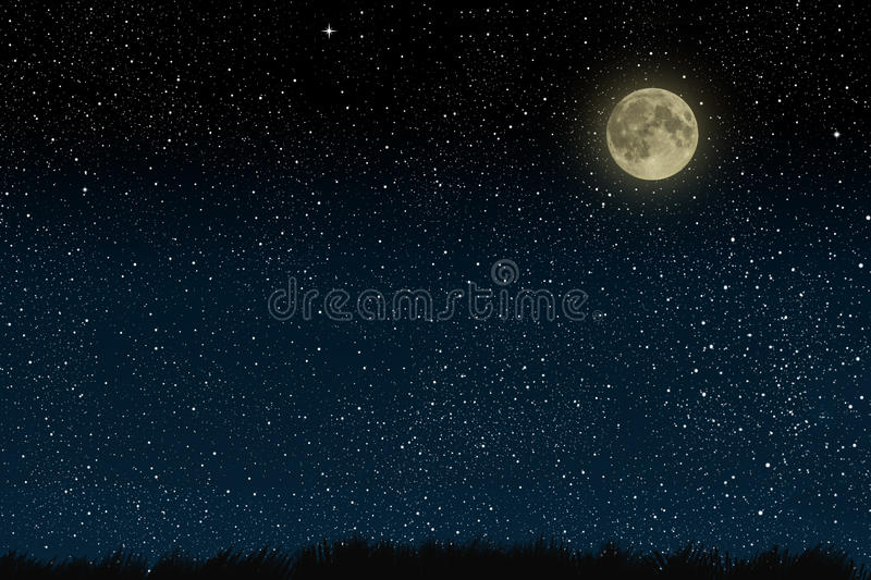 Beautiful magic blue night sky with clouds and fullmoon and stars and grass. stock photos