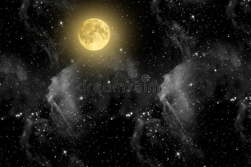 Beautiful magic blue sky with clouds and fullmoon and stars at night closeupr. Beautiful magic blue sky with clouds and fullmoon and stars at night closeup royalty free stock photo