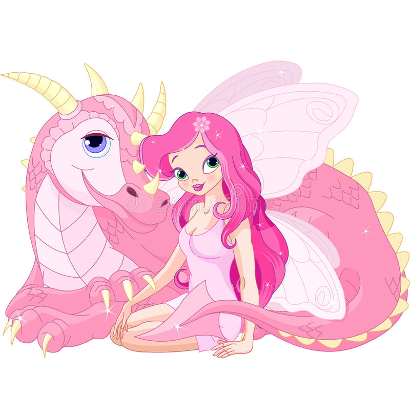 Beautiful Magic Dragon and Fairy vector illustration