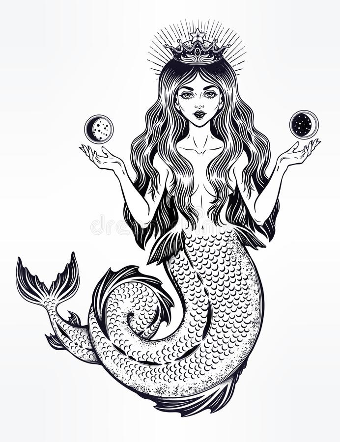 Beautiful magic mermaid queen with crown and moon. royalty free illustration