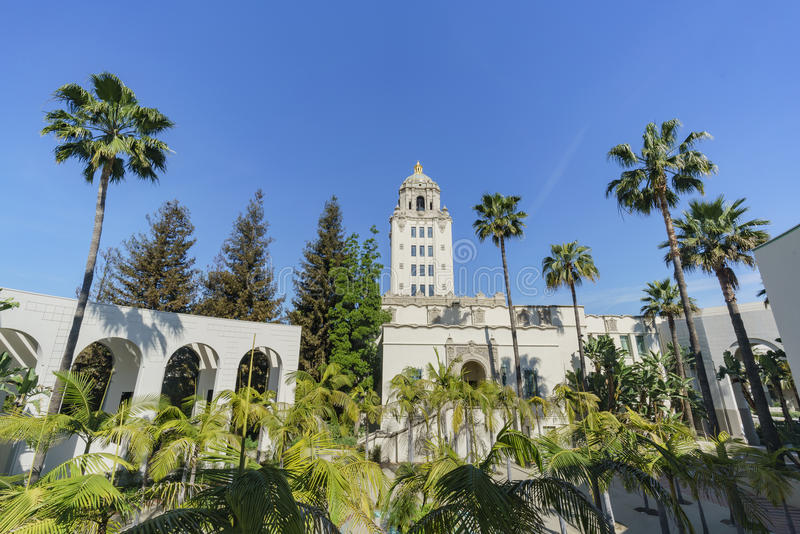 Beautiful main building of Beverly Hills city hall. Los Angeles, California royalty free stock photos