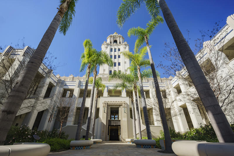 Beautiful main building of Beverly Hills city hall royalty free stock photo