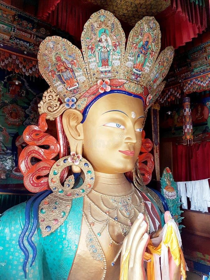 Maitreya Buddha statue at Thiksey monastery temple Leh Ladakh, India stock photos
