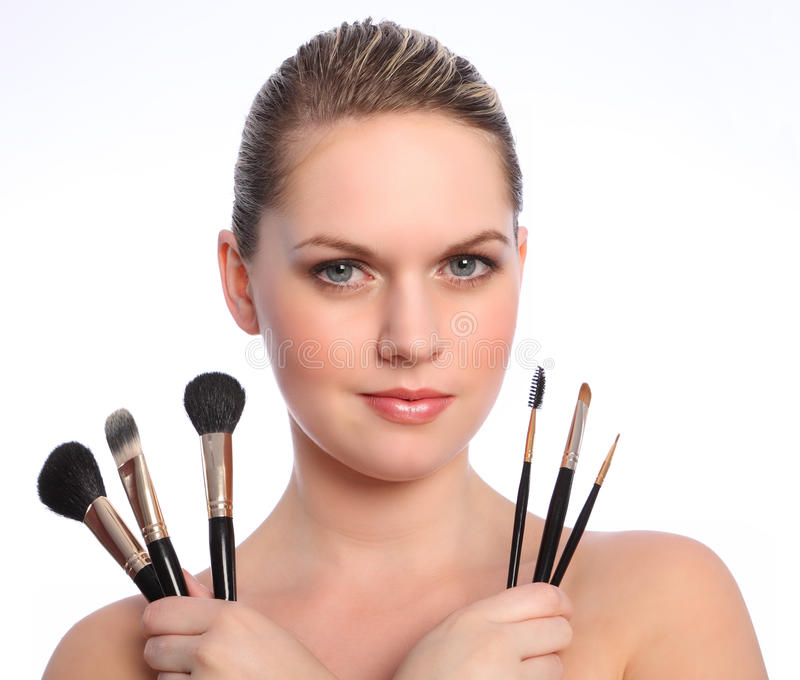 Download Beautiful Make Up Artist With Cosmetic Brushes Stock Photos - Image: 20474313