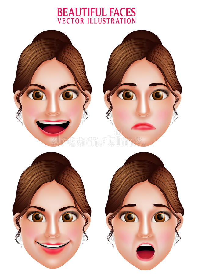 Beautiful Makeup Faces of Woman Vector Character with Facial Expressions vector illustration