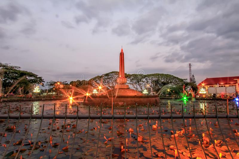 Beautiful Malang Tugu Square or KM 0 Malang With Beautiful Park at the Night. royalty free stock photo