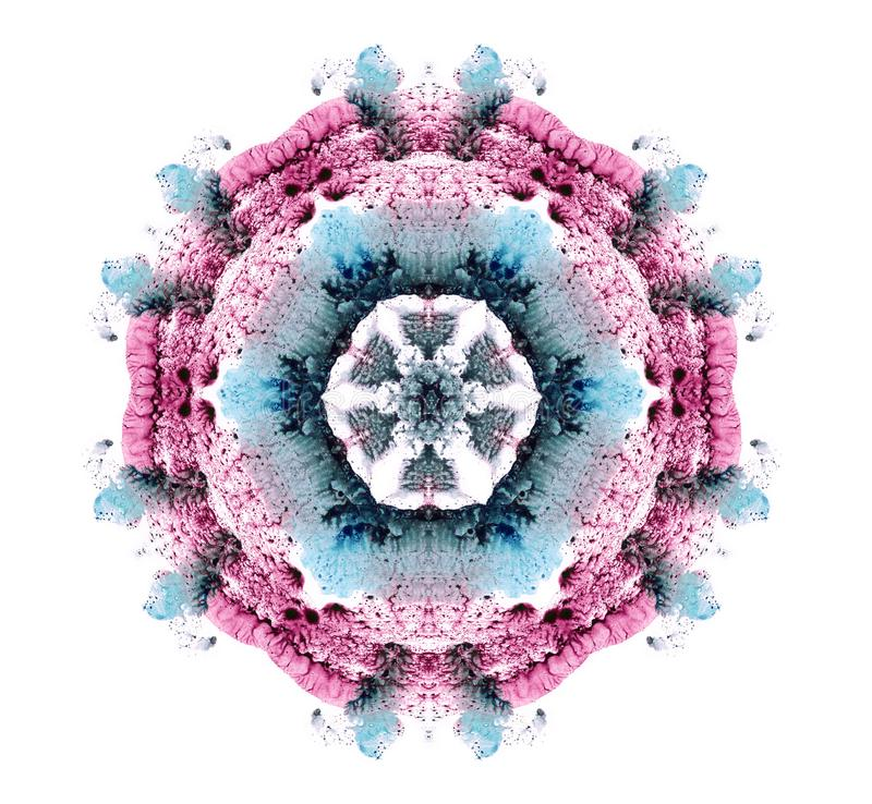 Abstract mandala as a beautiful flower. Illustration of a watercolor pink and blue color. Kaleidoscope. stock illustration