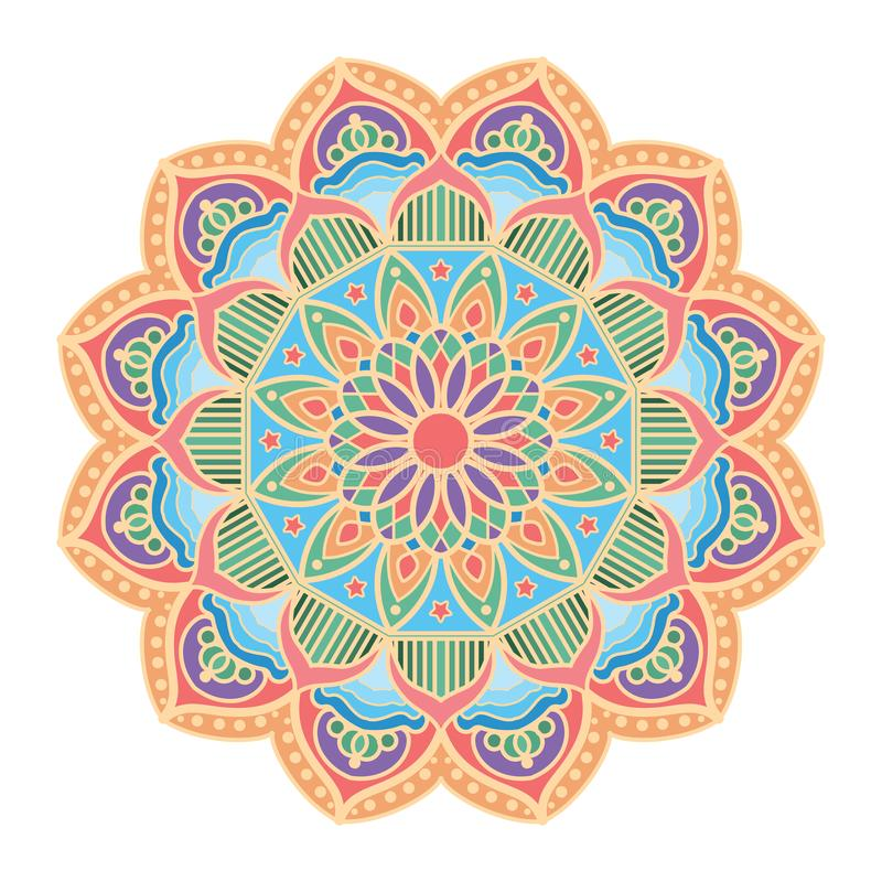 Beautiful mandala pattern design with pastel colors. Mandala pattern design with pastel colors stock illustration