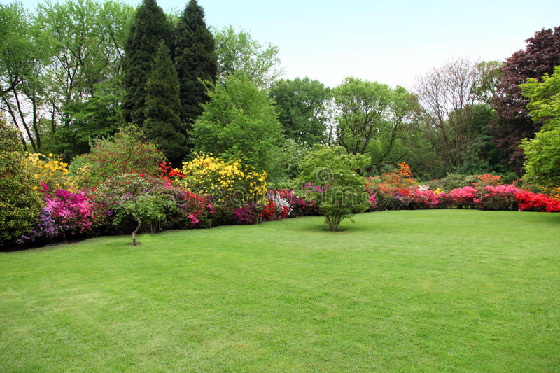 Beautiful manicured lawn in a summer garden royalty free stock images