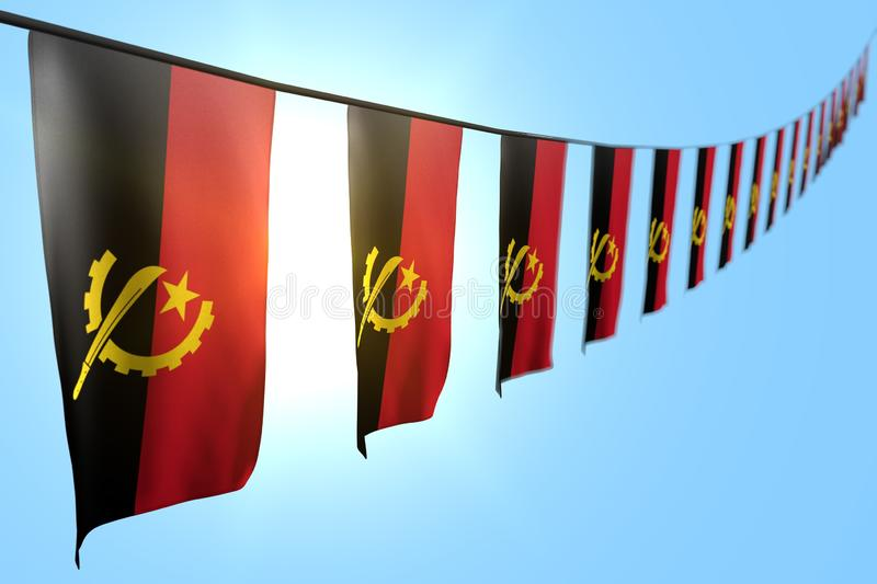 Cute feast flag 3d illustration - many Angola flags or banners hangs diagonal on string on blue sky background with selective. Beautiful many Angola flags or vector illustration
