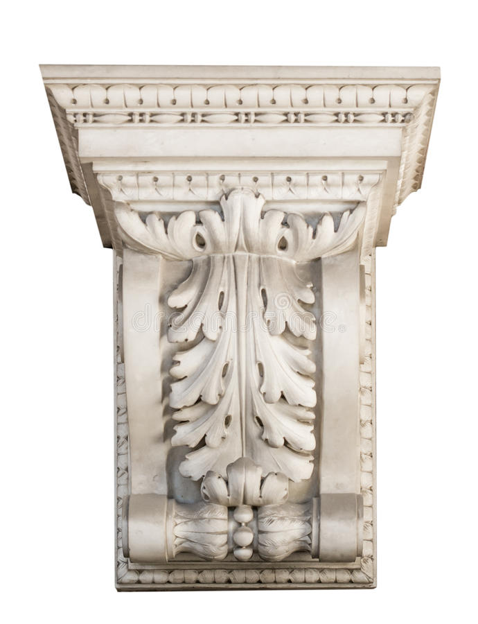 Beautiful marble architectonic decoration with floral elements stock image