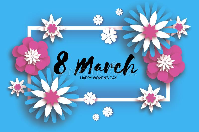 Download Beautiful 8 March. Origami Happy Women`s Day. Floral Greeting Card. Paper Cut Pink Blue Flowers. Rectangle Gorizontal Stock Vector - Illustration of bloom, girl: 107865342
