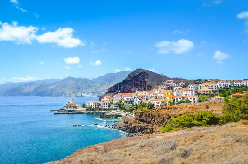 Beautiful Marina da Quinta Grande in Madeira island, Portugal. Small village, harbour located by Ponta de Sao Lourenco. Rocks and royalty free stock photo
