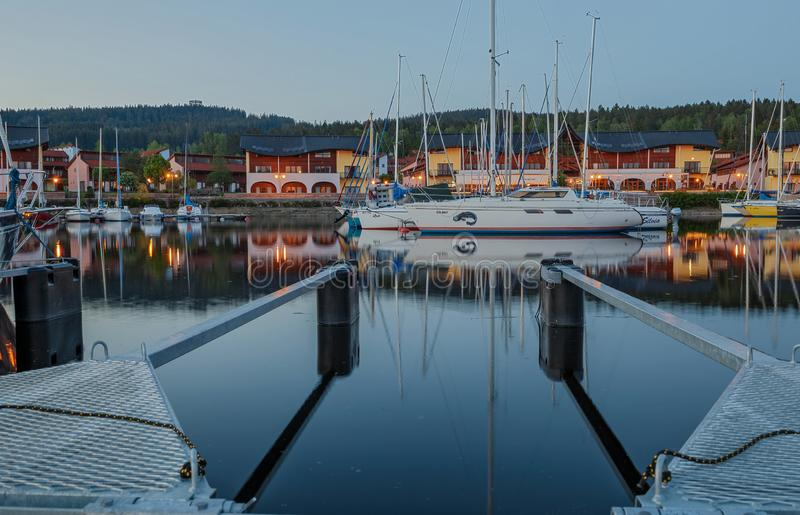Port of Lipno Lake in the Czech Republic. A beautiful marina on the Lipno Lake in the Czech Republic royalty free stock images