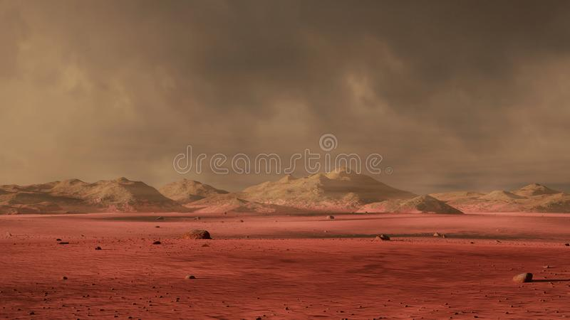 Landscape on planet Mars, dust storm on the red planet royalty free illustration