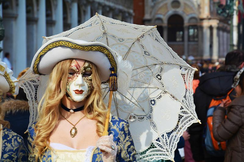 Beautiful mask with umbrella, Venice, Italy, Europe stock images