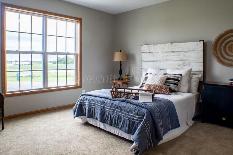 Cozy master bedroom on a cold winter`s day royalty free stock images