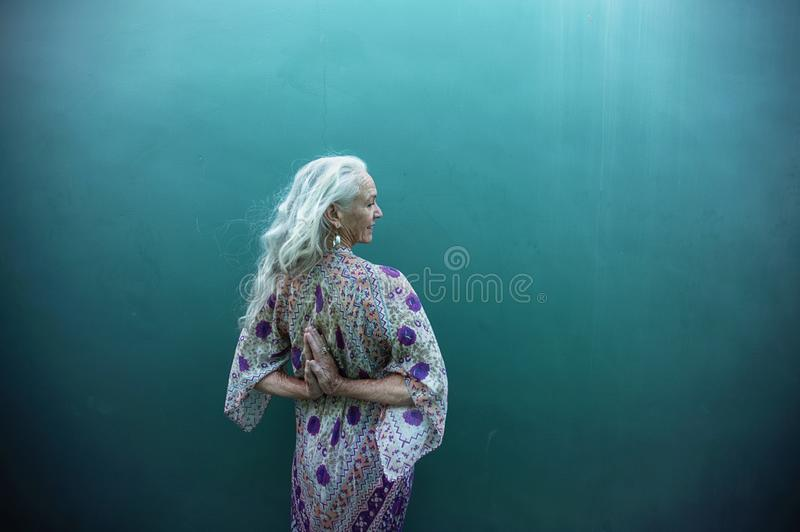 Creative Expressions Of A Spiritual Senior Woman royalty free stock photos