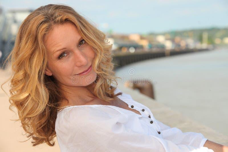 Beautiful mature woman stock image