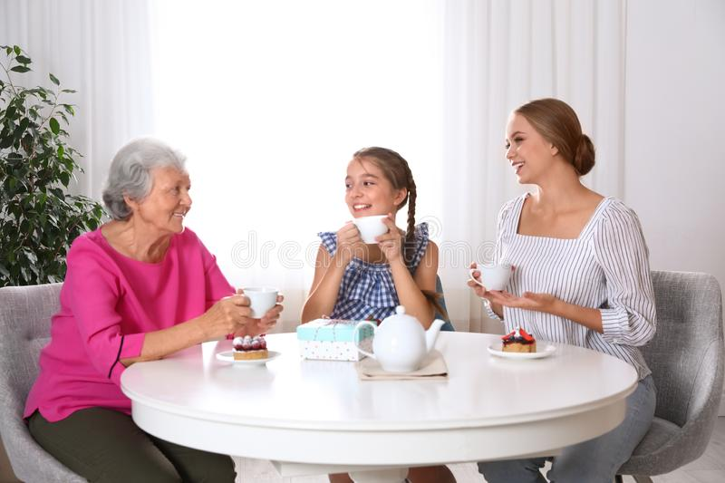 Beautiful mature woman, her daughter and grandchild having tea. Happy Mother`s Day royalty free stock photo