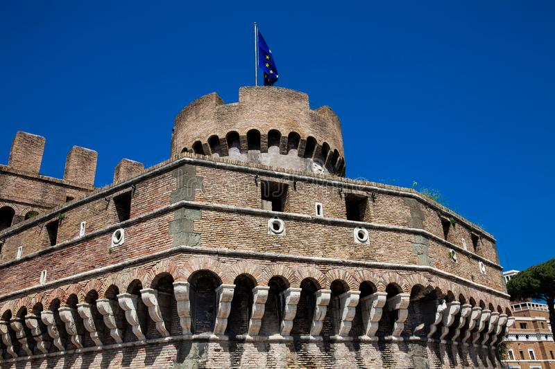 Beautiful Mausoleum of Hadrian also called Sant Angelo Castle built on the year 139 AD. The beautiful Mausoleum of Hadrian also called Sant Angelo Castle built stock image