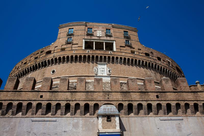 Beautiful Mausoleum of Hadrian also called Sant Angelo Castle built on the year 139 AD. The beautiful Mausoleum of Hadrian also called Sant Angelo Castle built stock photo