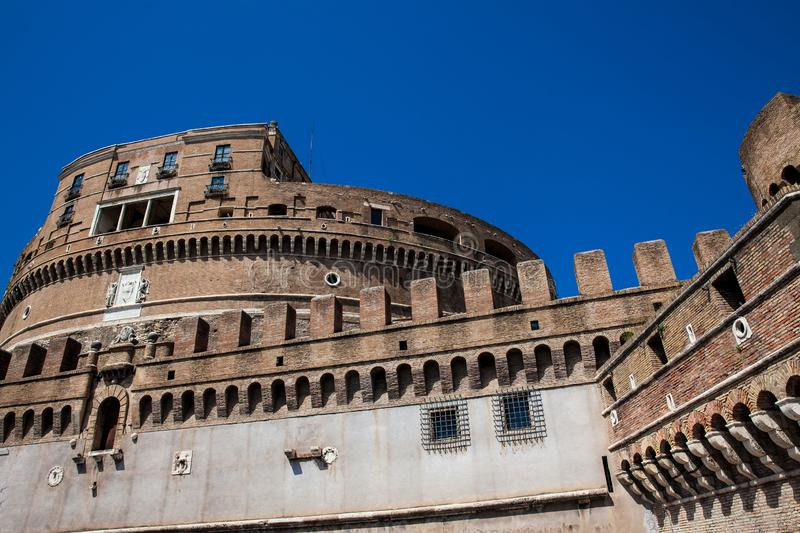 Beautiful Mausoleum of Hadrian also called Sant Angelo Castle built on the year 139 AD. The beautiful Mausoleum of Hadrian also called Sant Angelo Castle built stock photos