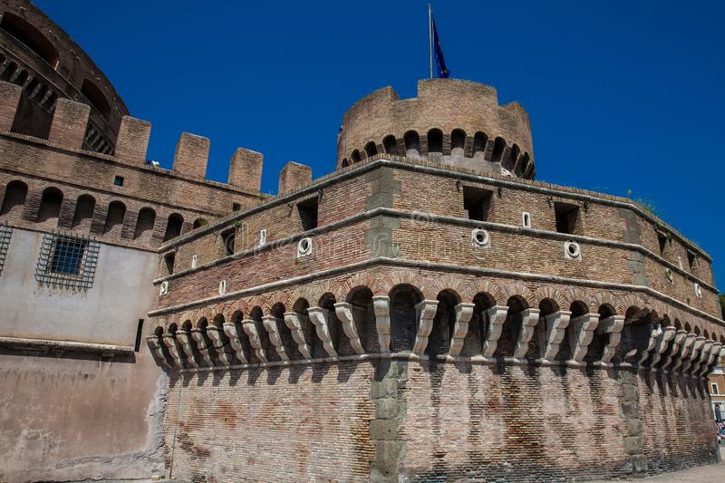 Beautiful Mausoleum of Hadrian also called Sant Angelo Castle built on the year 139 AD. The beautiful Mausoleum of Hadrian also called Sant Angelo Castle built stock images