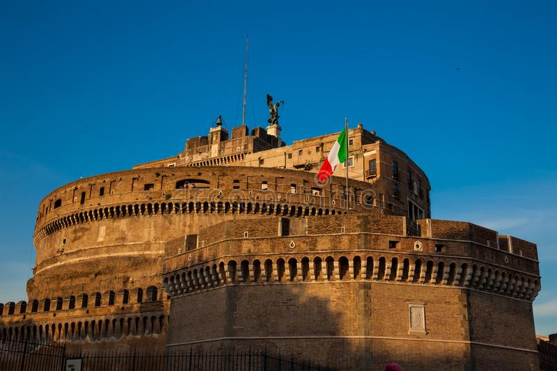 Mausoleum of Hadrian also called Sant Angelo Castle built on the year 139 AD. The beautiful Mausoleum of Hadrian also called Sant Angelo Castle built on the year royalty free stock photography