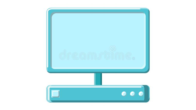 A beautiful medical computer with a digital monitor. A modern medical device for ultrasound imaging research on a white background. Vector illustration vector illustration