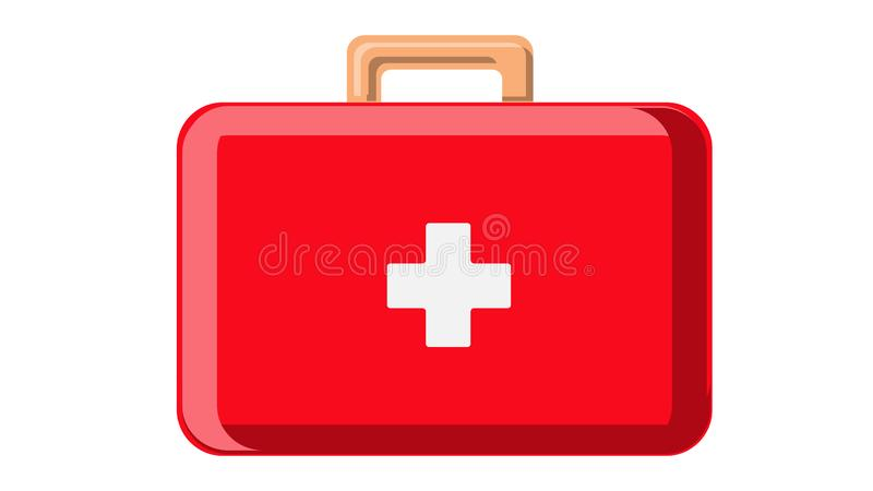 Beautiful medical red first-aid kit car first aid with drugs in the form of a suitcase with handles pharmaceutical on a white stock illustration