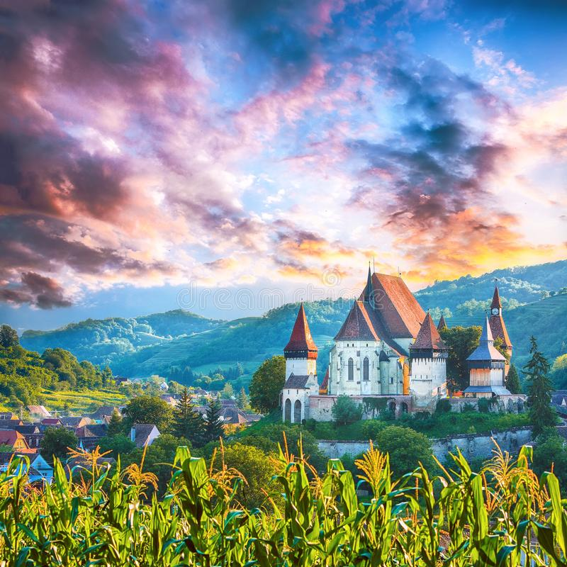 Beautiful medieval architecture of Biertan fortified Saxon church in Romania protected by Unesco World Heritage Site stock photography